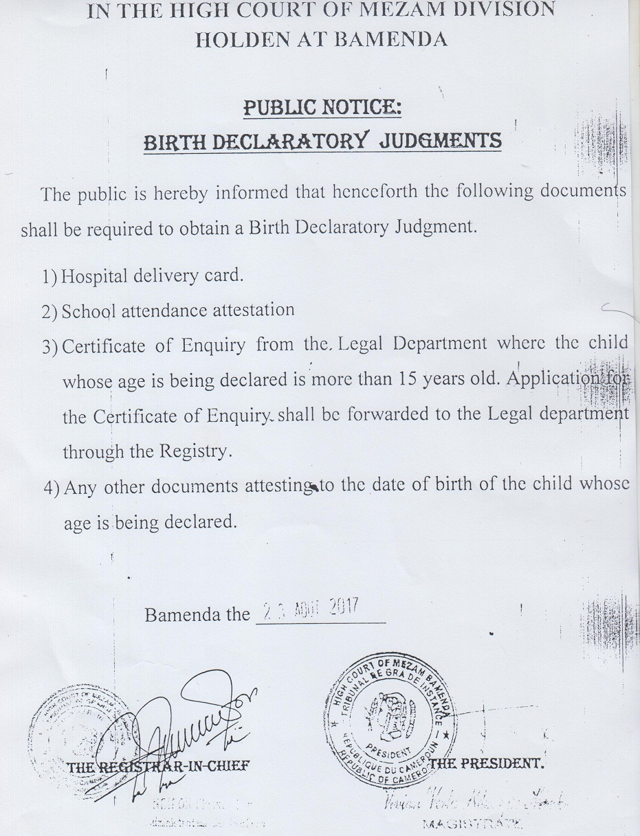 Birth Declaratory Judgments